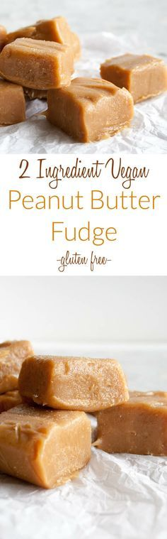 2 Ingredient Vegan Peanut Butter Fudge (gluten free) - If you love sweet desserts for the holidays, you'll love this recipe! It is incredibly easy to make!
