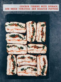 Chicken terrine with spinach, sun-dried tomatoes and roasted peppers recipe