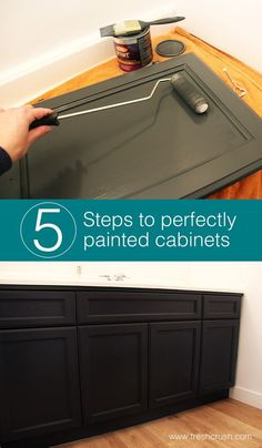 5 Easy steps to painting wood cabinets perfectly! Get it done right the first time. DIY painting tips for a ultra smooth, factory finish in your bathroom and kitchen. diy bathroom Painting Wood Cabinets - One Room Challenge - Week 3 - Fresh Crush Painting Wood Cabinets, Painting On Wood, Painting Laminate, Spray Painting, House Painting, Diy Kitchen Cabinets, Kitchen Paint, Kitchen Decor, Paint Bathroom Cabinets