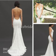 Wholesale -2013 Classic V Neck Sexy Backless Wedding Dress Lace ...