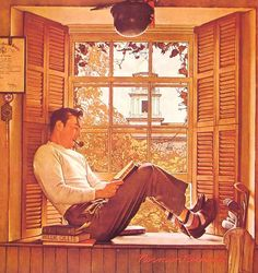 Norman Rockwell and my favourite pastime just sitting reading gathering knowledge and solitude from the world