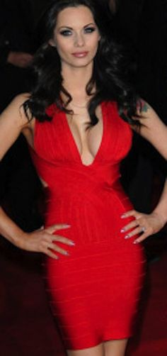 Show up Red Hot in this deep plunging neckline bandage halter dress.