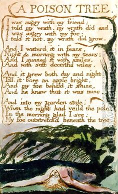 Poison Tree, from Songs of Experience Vengence is sooooo sweet. By William Blake is sooooo sweet. By William Blake Poison Tree Poem, Trauma, Songs Of Innocence, English Poets, Gcse English, Theater, Pomes, Oil Painting Reproductions, Poetry Quotes