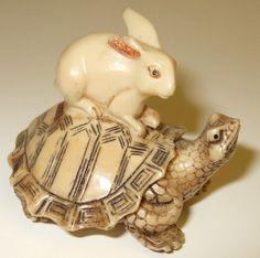 turtle and hare netsuke
