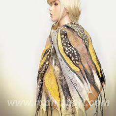 Felted Scarf Shawl Wrap made of Wool and Silk Mustard by RudmanArt, $139.00