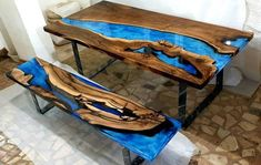 art resin walnut set is part of Wood resin table - this page has prepared to getting payment for Customer Dimensions Table L 84 × W 43 Bench L 80 × W 16 Wood Type Walnut Casting Type Touch with hand Edge Style Square Edge Resin Color Art Blue Epoxy Wood Table, Epoxy Resin Table, Epoxy Table Top, Resin Crafts, Resin Art, Resin In Wood, Art Bleu, Wood Table Design, Table Designs