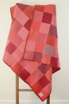 Felted wool sweater blanket: recycled wool sweater quilt