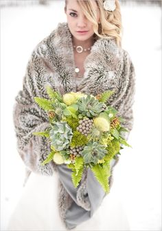 High #Fashion mixed with organic elements, and a touch of earth makes this inspirational shoot captivatingly beautiful. The #bouquet has the most exquisite shades of greens we have every seen. #winter #wedding http://jangmijewelry.com/