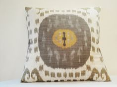 Bold and Graphic Ikat Print Pillow Shams , Brown and Grey Ikat print Euro Sham , Brown and Grey Print Cushion Covers