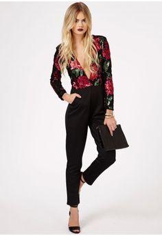 Missguided - Baeddan Rose Embellished V Neck Jumpsuit