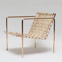 Architectural Digest Home Design Show — Eric Trine Rose Gold leather Furniture Decor, Modern Furniture, Furniture Design, Poltrona Design, Woven Chair, Copper Frame, Metal Chairs, Take A Seat, Sofa Chair