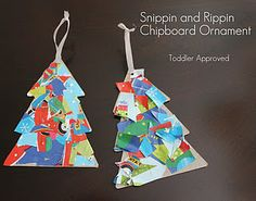Wrapping paper scraps glued on tagboard shape and edges trimmed.