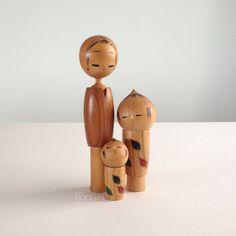 Cute Sosaku Kokeshi Japanese Wooden Doll Family by alamodern