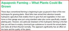 #Aquaponics Farming | What Plants Could Be Grown READ MORE HERE http://aquaponicfarming.blogspot.com/2012/02/aquaponic-farming-what-plants-could-be.html