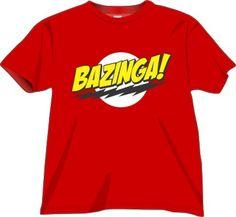 T-shirt Bazinga di alta qualità, stampa digitale diretta Full Color. Cotone, Rosso. Disponibile nelle taglie: S, M, L, XL