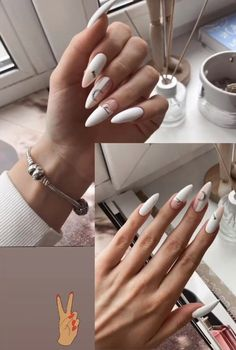 White Acrylic Nails, Pastel Nails, Stylish Nails, Trendy Nails, Romantic Nails, Glitter Accent Nails, Cow Nails, Lines On Nails, Glamour Nails