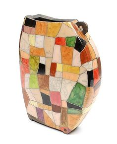 Glazed mosaic stoneware raku vase with two handles design execution by Ute Grossmann Germany 1960 - in own studio Dresden / Germany ca.2000