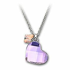 Heart Mini Pendant  A pretty pendant comprising a Vitrail Light crystal heart and Aurora Borealis crystal butterfly. Let the reflections mingle and cause a subtle shimmer on the link chain! This pendant comes on a chain.
