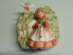 Vintage Dutch Girl with Flowers/Tulips and Windmill Wall Pocket (George Imports)