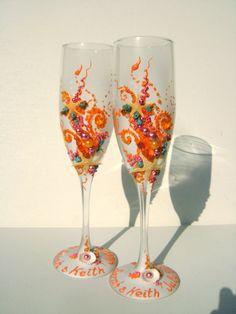Beach wedding champagne glasses in tangerine and fuschia