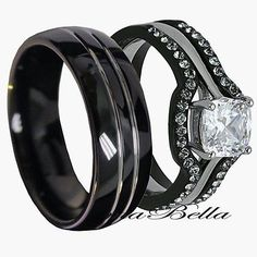 His Tungsten & Hers Black Stainless Steel 4 Pc Wedding Engagement Ring Band Set in Jewelry & Watches, Engagement & Wedding, Engagement/Wedding Ring Sets Band Engagement Ring, Wedding Ring Bands, Wedding Jewelry, Wedding Engagement, Tungsten Wedding Bands, Black Wedding Rings, Black Rings, Gold Rings, Black Weddings