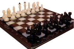 Natural onyx and obsidian chess set | stone chess set | table game