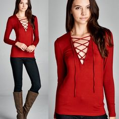 """""""Statue"""" Lace Up Plunge Long Sleeve Top Long sleeve top with a deep plunge lace up front. Available in black, red and olive. This listing is for the RED. Brand new. True to size. NO TRADES. Bare Anthology Tops Tees - Long Sleeve"""