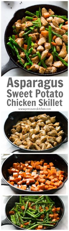This Asparagus Sweet Potato Chicken Skillet recipe is a delicious, healthy and easy to make meal that will be on your dinner table in less than 30 minutes. Gluten-free and paleo, perfect for a busy weeknight dinner. | Primavera Kitchen