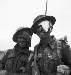 Two wounded soldiers from the Durham Light Infantry during the Mareth line battle in Tunisia, March 1943