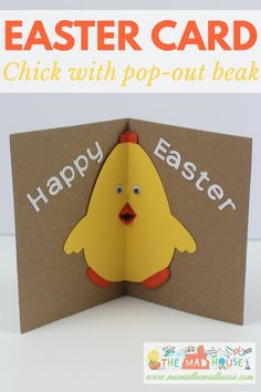 How cute is this Easter Chick card with pop out beak. It is a fab DIY kids craft for Spring or Easter. This is a super simple card to make with your children.