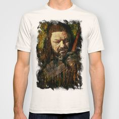 Daily Tee: Ned Stark t-shirt design by Sirenphotos - Fancy T-shirts Daily Tee, Ned Stark, White Shirts, American Apparel, Organic Cotton, Most Beautiful, Shirt Designs, Menswear, Fancy