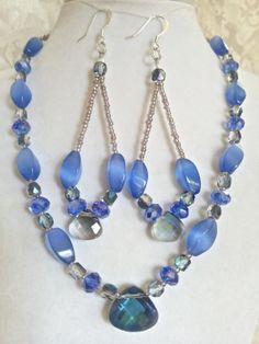 Beadwork Light Blue Sapphire Tigers Eye Glass by CreateBeautiful, $48.00