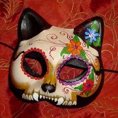 Dia de los muertos kitty mask
