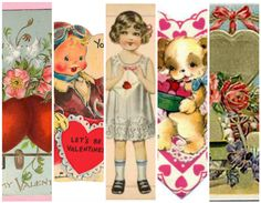 Printable Vintage Valentines (I used these to make the Pottery Barn Heart Garland! Just print, cut, glue on heart shape, string onto ribbon, and you're done!)