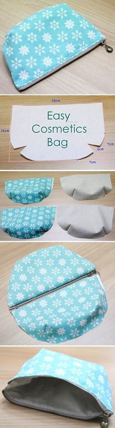 Step by Step Sewing Tutorial in Pictures. DIY Make Up Bag. http://www.handmadiya.com/2015/10/easy-cosmetics-bag-tutorial.html: