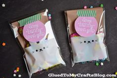 """Some """"Bunny"""" Loves You Party Favor Idea & Free Printable Gift Labels, Gift Tags Printable, Owl Crafts, Crafts For Kids, Some Bunny Loves You, Popsicle Sticks, Free Printables, Party Favors, Lunch Box"""