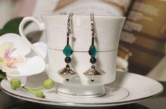 Earrings Sterling Silver 925 Fashion Jewelry Green Beads Swarovski crystal new #Handmade #DropDangle