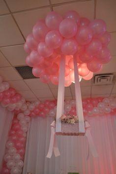 Pink ans white balloon decoration