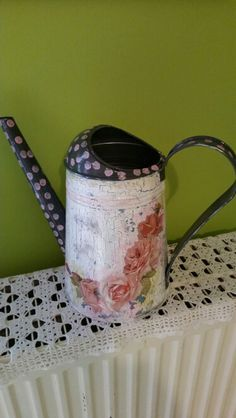 Metallic watering can- decoupage by me.
