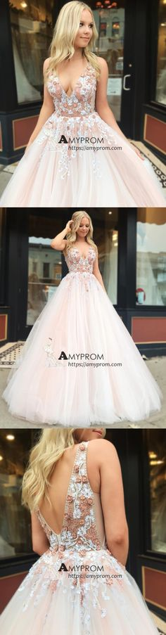 f73c07b320 Chic V neck Prom Dress Pink Tulle Long Evening Gowns With Lace Party Dress  Elegant Formal