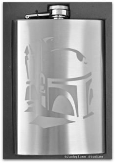 Etched Boba Fett Star Wars, Sci-Fi Stainless Steel 8 ounce Flask by Jackglass on Etsy. $19.99, via Etsy.
