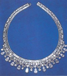 The Queen's King Faisal Necklace   This Harry Winston design is a fairly well-known member of the Queen's diamond necklace collection. It ...
