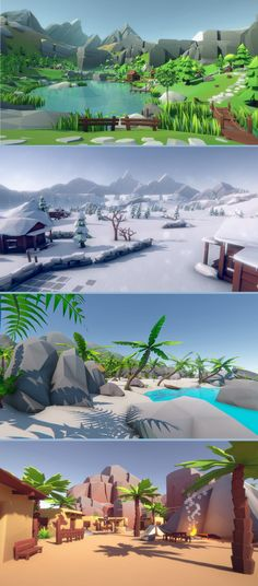 #Lowpoly Style Ultra Pack. Five packs in a single package! #Desert, #Woodlands , #Winter, #Forest and #Tropical #Islands at an unbeatable price! Build your own #environments with easy drag'n'drop: all assets come with a fitting collider and prefabs.Performance: All 5 environments share 1 material and 1 texture, so you even can mix them and still batch all drawcalls together.