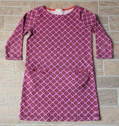 J Crew Crewcuts Purple Fuchsia Patterned Shift Dress Girls 10 Pockets Cotton #Crewcuts #ShiftDress #EverydayHolidayParty