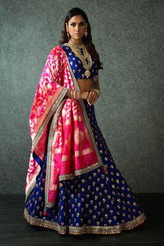 indigo blue lehenga, gold scattered motifs, silk lehenga, banarasi silk dupatta, magenta dupatta