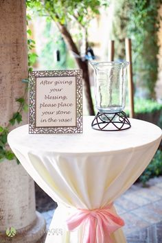 Blessing Stone, guests will give bride and groom a special blessing then place a stone in the jar. Unique wedding keepsake | Lasting Images Photography | villasiena.cc