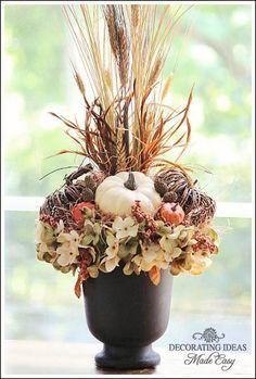 Easy fall arrangement tutorial from Jennifer Decorates.com