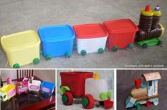 """""""Carrinhos, trenzinhos... feitos por reutilização de potes e tampinhas plásticas!"""""""