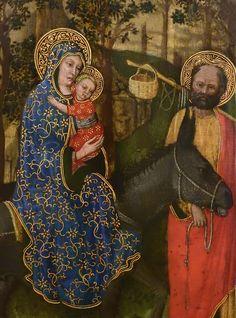 """GIOVANNI FRANCESCO DA RIMINI (Attribué),1440-50 - Vie de la Vierge, La Fuite en Egypte (Louvre) - Detail 03  -  TAGS / details détail détails painting paintings peintures """"peinture 15e"""" """"15th-century paintings"""" """"Moyen Âge"""" """"Middle age"""" Museum Paris France Italie Italy Italia Bible prière prayer Bless sacred holy blessed Virgin Jésus Jesus Enfant Child kid family famille """"St Joseph"""" """"da Rimini"""" trône throne âne donkey animal animals animaux basket panier voyage trip foliage feuillage nature"""