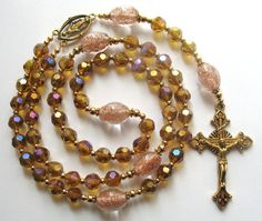 Gold Rosary Gold Glass Beads Catholic Rosary by GloriaRosaries